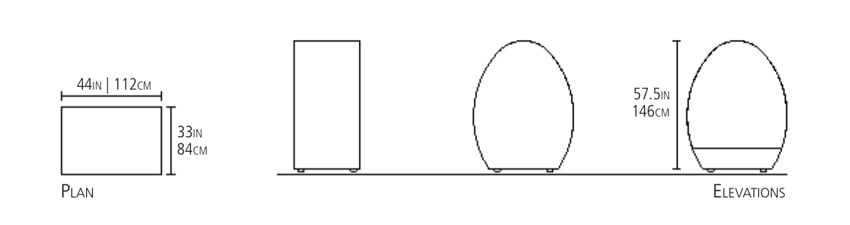 This are the measurements for the Zazen Meditation Hut from Eugene Stoltzfus Furniture Design.