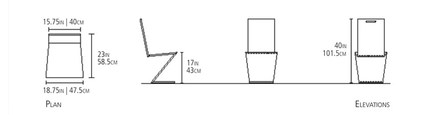 This image shows the Zee Head Chair measurements