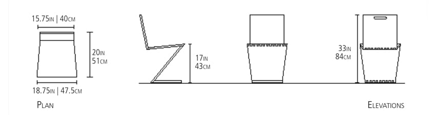 These are the measurements for the Zee Side Chair from ESFD.